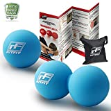 RitFit Peanut Massage Lacrosse Ball für Myofaszial-Release, Triggerpunkt Therapie, Muskel Knoten, Yoga und Therapie. Bonus Single Massage Ball., blau/blau