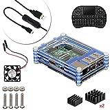Para Raspberry Pi 3 modelo B + escritorio Starter Kit (caja, ventilador, Micro USB Cable, disipador de calor, Mini teclado inalámbrico Bluetooth) (azul)