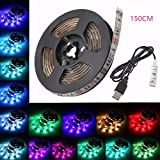 Glisteny LED USB-Strip RGB, 5050 SMD, Schutzart IP65 wasserdicht, dekorative flexible LED-Leiste 50 – 200 cm, Kabel DC5V. Für TV, HDTV, LCD, Laptop, Desktop, PC, Außenbereich und Schlafzimmer. 150CM