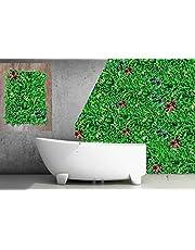 KONARK Designer Artificial Grass Wall Panels with Grass Leaf and Flower Design(40cm x 60cm) per Panel