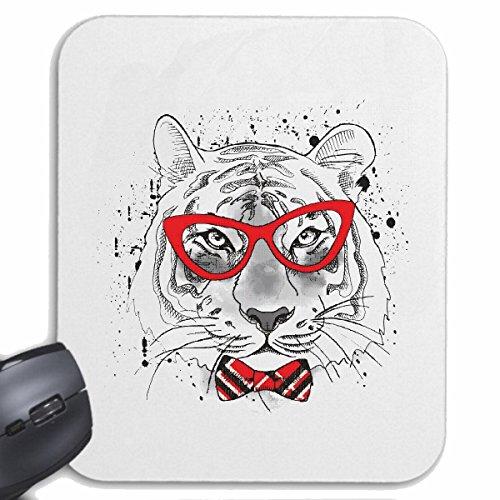 Reifen-Markt Mousepad (Mauspad) FRÖHLICHER Tiger MIT Brille UND Fliege Tiger Wildtier Raubkatze Leopard Raubkatze für ihren Laptop, Notebook oder Internet PC (mit Windows Linux usw.) in Weiß
