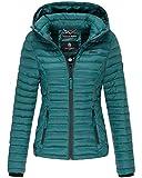 Marikoo Damen Übergangs Steppjacke Herbst Winter Jacke mit Kapuze 11 Farben mit Camouflage XS - XXL Samtpfote (L, Deep Green)