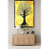 [Sponsored]Cotton Poster Wall Decor Wall Hanging Wall Decorative Hanging Small Tapestry Hall/Room/Office/Home Decorative Yellow Classic Tree Printed Small Tapestry By Handicraft-Palace