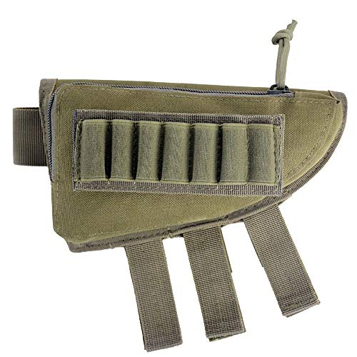 SHI-Y-M-ZDD, 7 Shells Ammo Pouch Einstellbare Tactical Butt Stock Rifle Backe Rest Bullet Bag Halter Military Bullet Carrier Gun Zubehör (Color : ArmyGreen) -