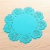 SMARTRICH creative retro pizzo sottobicchieri ciotole tappetino rotondo rose Hollow spessa silicone Cup Pad, Silicone, Blue1, large