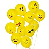 Turelifes 100 Pcs 12'' Emoji Series Latex Balloons Smiley Face Cute Balloons Yellow
