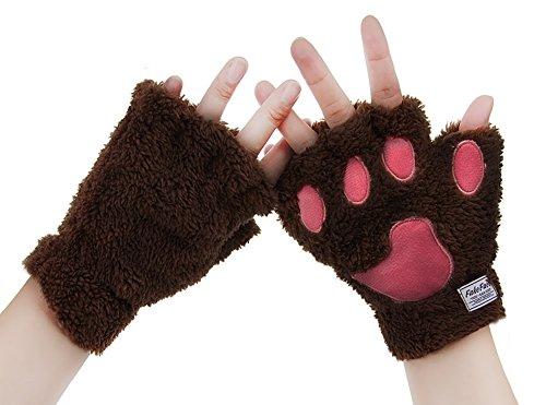 BXT da donna guanti invernali guanti artiglio di animale cartone animato dita spessa e calda peluche pile Coral String Guanti Guanti Light Coffee Taglia unica