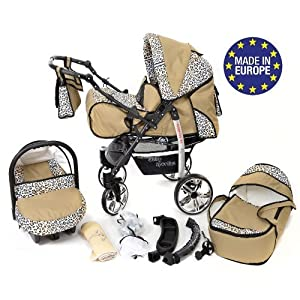 Sportive X2, 3-in-1 Travel System incl. Baby Pram with Swivel Wheels, Car Seat, Pushchair & Accessories (3-in-1 Travel System, Beige & Leopard)   15