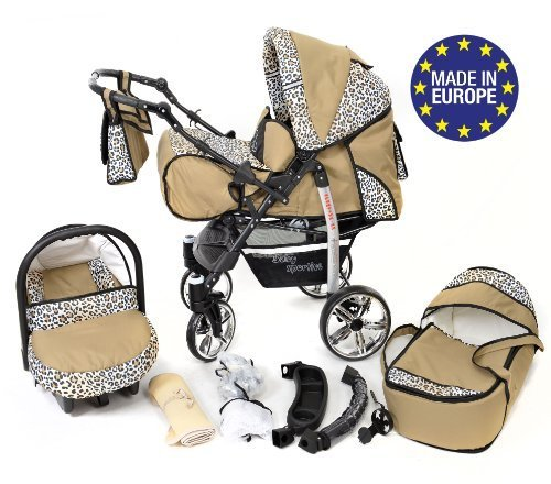 Sportive X2, 3-in-1 Travel System incl. Baby Pram with Swivel Wheels, Car Seat, Pushchair & Accessories (3-in-1 Travel System, Beige & Leopard) Baby Sportive 3 in 1 Travel System All in One Set - Pram, Car Carrier Seat and Sport Buggy + Accessories: carrier bag, rain protection, mosquito net, changing mat, removable bottle holder and removable tray for your child's bits and pieces Suitable from birth, Easy Quick Folding System; Large storage basket; Turnable handle bar that allows to face or rear the drive direction; Quick release rear wheels for easy cleaning after muddy walks Front lockable 360o swivel wheels for manoeuvrability , Small sized when folded, fits into many small car trunks, Carry-cot with a removable hood, Reflective elements for better visibility 1