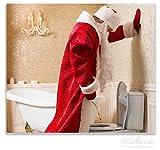 Wallario Herdabdeckplatte / Spitzschutz aus Glas, 1-teilig, 60x52cm, für Ceran- und Induktionsherde, Weihnachtsmann macht Pause und pinkelt auf edler Toilette