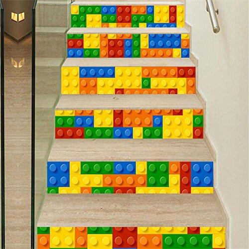 L-PJ Adesivi Step Adesivi per scale 3D Adesivi per decorazioni autoadesivi Adesivi per scale adesivi impermeabili colorati Plastica colorata 18*100cm*6pcs