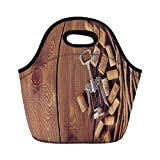 Jieaiuoo Portable Lunch Bag,Winery Decor,Wine Corks Over Rustic Wooden Ground Natural Organic Liquor Elements Vintage Harvest Top View,Brown,for Kids Adult Thermal Insulated Tote Bags