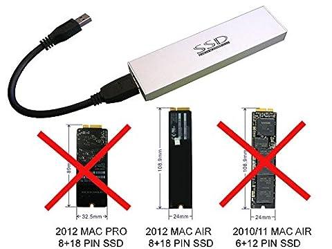 Kalea Informatique Gehäuse für SSD MacBook Air 2012auf USB3(USB 3.0SuperSpeed)–Für SSD von MAC 8+18Pin (Macbook Air Ssd)