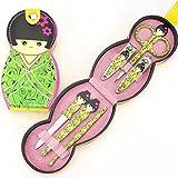 LETTER Nagelpflege Clipper Nagelpflege Clipper 6 Stück Set Puppe Maniküre Pediküre (Grün)