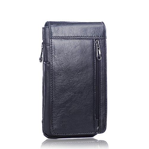 iPhone 6 Plus Handy Holster, Echt Leder Kleine Gürteltasche Handytasche mit Reißverschluss Fächer - Schwarz