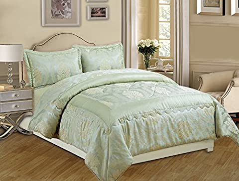 3 Piece Jacquard Quilted Bedspread Comforter, Pillow Shams,Luxury Bed Set+ Free P & P (Betty Light Blue, King)