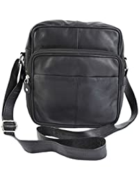 67ce84b62f6c Primehide Soft Black Leather Unisex xbody Top Zip Organiser Shoulder Bag  1454