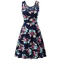 Dubocu Women's Sleeveless Printing Summer Beach A Line Casual Dress Floral Dress Dark Blue X-Large