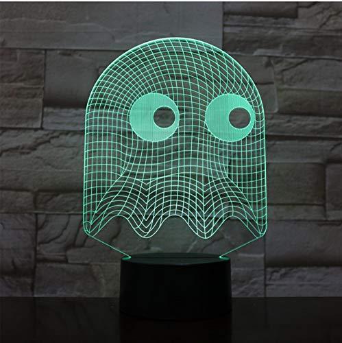 3D Nachtlicht,3D Illusion Lampe,7 Farben Ändern Touch Switch Nachtlicht,Das Beste Geschenk Für Kinder,Optisches 3D-Nachtlicht,Tischlampe, Pac-Man