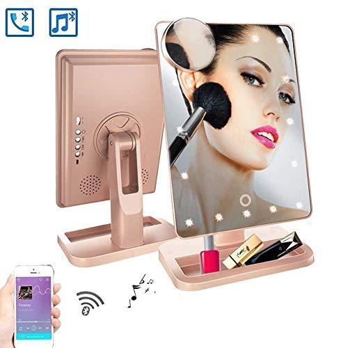 Rziioo Schminkspiegel Mit Bluetooth - 20 LED-Leuchten Kosmetikspiegel, 180 ° -Rotationsspiegel Mit Beleuchtung,C