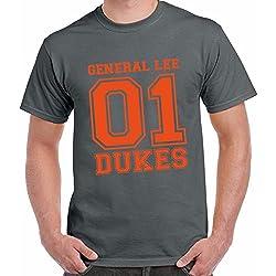T-Shirt Divertente Uomo Maglietta Con Stampa Telefilm Anni 80 Dukes General Lee Chemagliette!, Colore: Antracite, Taglia: L