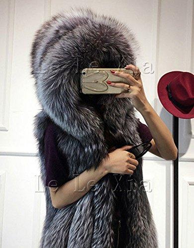 CRAVOG Fellweste Damen Parka Fake Fur-Weste winter warmer Mantel Armlos mit Kapuzen