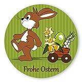 Oster-Aufkleber Ostern-Sticker rund Ø 30mm selbstklebende PE-Folie, 100 Stück auf Rolle Frohe Ostern mit Osterhase und Wagen