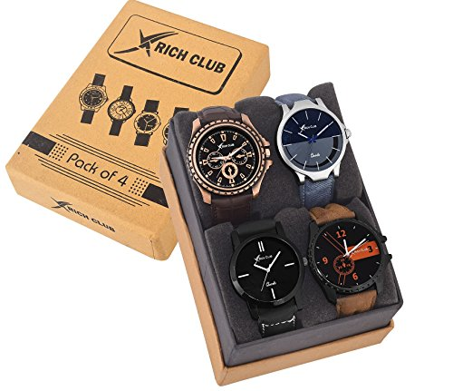 Rich Club Pack of 4 Multicolour Analog Analog Watch for Men and Boys