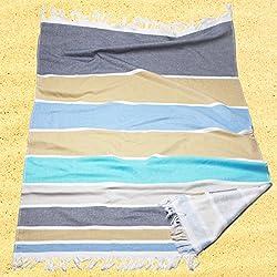 Burrito Blanco Pareo para playa/Toalla pareo 179 Algodón 90% Poliéster 10% con Reverso de Rizo 90x165 cm con Flecos Estampado de Rayas, Azul Gris y Beige