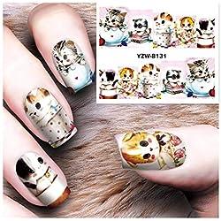 JFHGNJ 10 Hoja de Transferencia de Agua Tatuaje Consejos completos Arte de uñas Belleza Diseños Lindos del Gato Etiqueta Tatuajes de uñas Nuevo