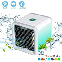 Soopesar AUN Arctic Air Portable Air Conditioner - Mini Air Conditioner Fan 3 in 1 USB Air Cooler Personal Air Purifier Humidifier with 7 Colors LED Lights Cooling Desktop Fan for Home Office Bedroom