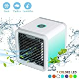 AUN Portable Mini Air Conditioner Mobile - Mobiles Klimagerät Air Evaporative Cooler with Klimaanlage with Water Cooling System - 3 Windi Ngkeits Settings and 7 Color Changing LED Night Light