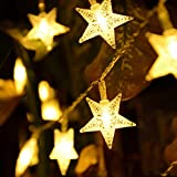 Weihnachten LED Lichterkette Kugeln und Sterne/Deko Beleuchtung für Innen und Aussen/Party- und Barschmuck (Weiss) (Weiss, Sterne_20)