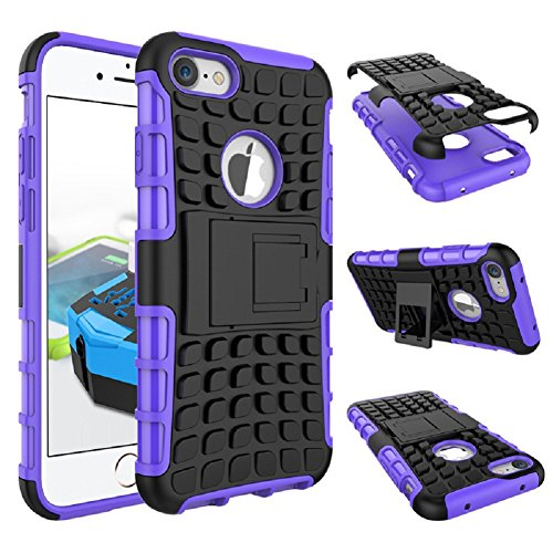 iPhone 6 6s Case, Shock Proof Tough Rugged Dual-Layer Case with Built-in Kickstand for iPhone 6 6s 4.7 iPhone6 / 6s (viola)
