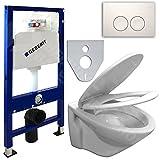 GEBERIT Duofix UP100 Vorwandelement , Wand WC beschichtet, WC-Sitz Soft-Closin (Delta 21 Chrom seidenglanz / rund)