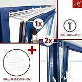 M.Versand Kippfenster-Schutzgitter Set, Kunstoff, 3-tlg, Oben/Unten Ausziehbar, Weiß - 75-125x16 cm, inkl. Schrauben & Klebestreifen