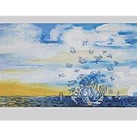 Karte Meerjungfrau, Grußkarte mit Seejungfrauen, Postkarte Fischschwarm , eine märchenhafte und maritime Glückwunschkarte, zum Geburtstag: für Seejungfrauen und alle die das Meer lieben. Geburtstagskarte Sternzeichen Fische.