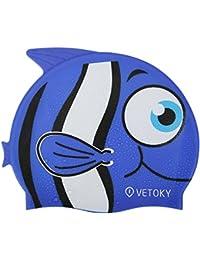 VETOKY Cuffie Nuoto, Unisex Cuffia Piscina in Silicone Adatto per Adulto e Bambino - Pesce Blu