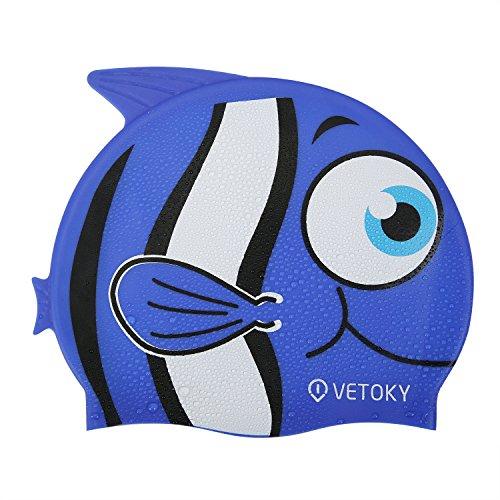 Vetoky cuffia nuoto, unisex cuffia piscina in silicone adatto per adulto e bambino - pesce blu