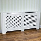 Home Discount Oxford Radiator Cover White Traditional Painted MDF Cabinet, Extra Large