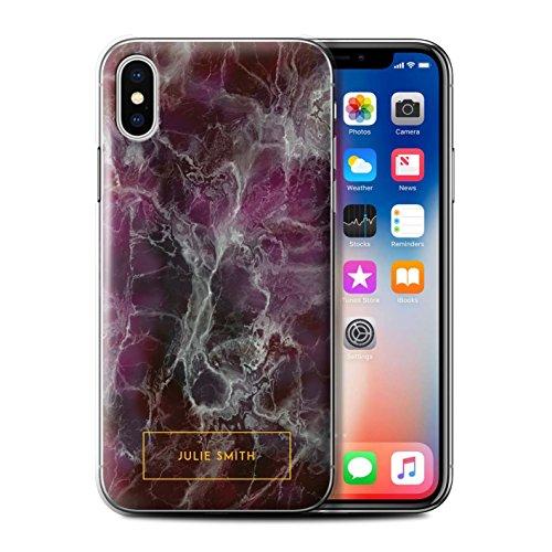 Personalisiert Personalisiert Marmor Hülle für Apple iPhone SE / Perle Weißen Stempel Design / Initiale/Name/Text Schutzhülle/Case/Etui Lila & Gold Briefmarke