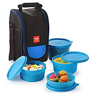 Cello Max Fresh Super Polypropylene Lunch Box Set, 225ml, 4-Pieces, Blue