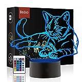 HeXie Weihnachtsgeschenk Magie Kawaii Kätzchen Lampe 3D Illusion 7 Farben Touch-Schalter USB Einsatz LED-Licht Geburtstagsgeschenk und Party Dekoration