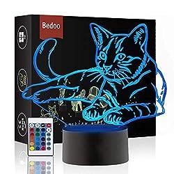 Weihnachtsgeschenk Magie Kawaii Kätzchen Lampe 3D Illusion 16 Farben Touch-Schalter USB Einsatz LED-Licht Geburtstagsgeschenk und Party Dekoration