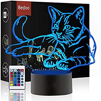 Interrupteur Tactile 7 Couleurs 3D Optique Lampe De Table Salon Chambre 3D Lumi/ères D/écoratives JYKJ Lampe De Bureau 3D Lumi/ère De Nuit Au Chevet du Chat