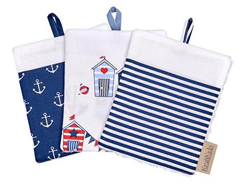 KraftKids Waschlappen weiße Anker auf Dunkelblau Strandhäuschen Streifen dunkelblau, Waschhandschuh 16 cm breit und 19 cm lang, Waschtuch mit Liebe handgefertigt in der EU -
