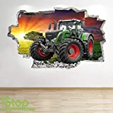 1Stop Graphics Shop Tracteur Autocollant Mural 3D Look - Chambre Salon Nature Yard Ferme Autocollant Mural Z679 - Large: 70 cm x 111 cm...