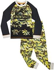 Jurassic World Pijama Niño, Pijama Dinosaurio Estampado Camuflaje, Pijamas de Dos Piezas Camiseta Manga Larga