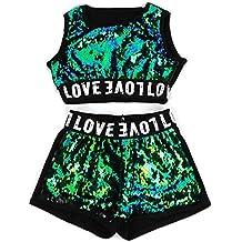 53a7deb0dda61 unbrand Trajes de los niños Niñas Moderno Jazz Hip-Hop Dancewear Ropa de  béisbol Lentejuelas