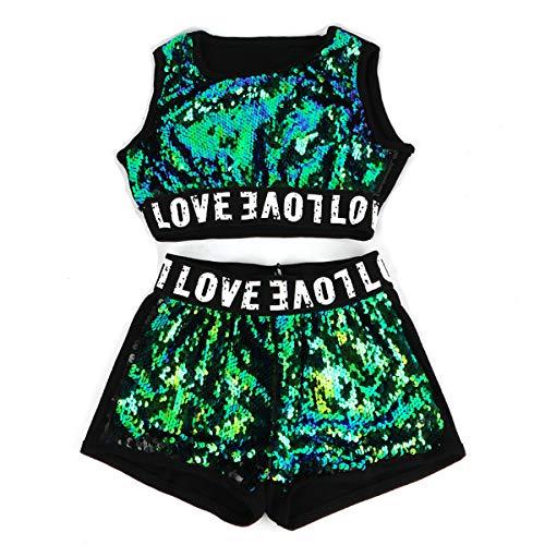 unbrand Kinder Kostüme Mädchen Modern Jazz Hip-Hop Dancewear Baseball Kleidung Pailletten Mantel ()